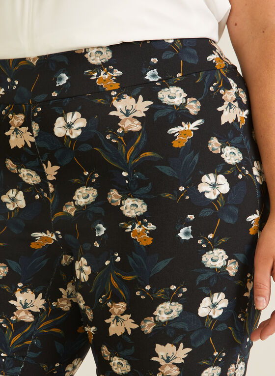 Joseph Ribkoff - Floral Print Pull-On Capris, Black