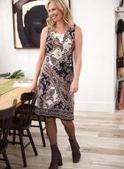 Paisley Print Dress & Cardigan Set, Brown