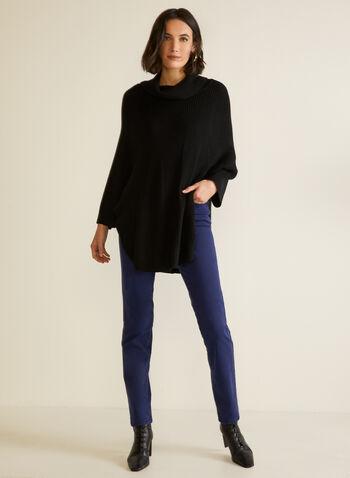 Poncho en tricot à col châle, Noir,  automne hiver 2020, poncho, pull, tricot, col châle