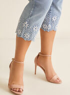 Embroidered Hem Slim Leg Capri, Blue