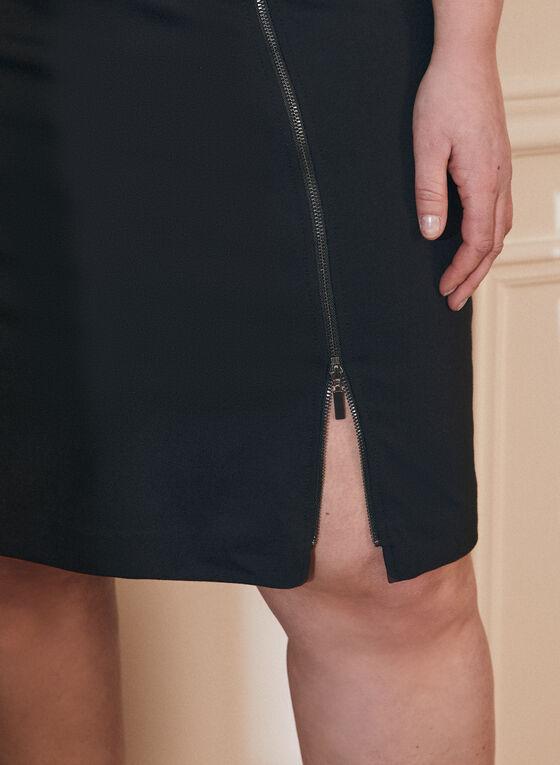 Zipper Detail A-Line Skirt, Black