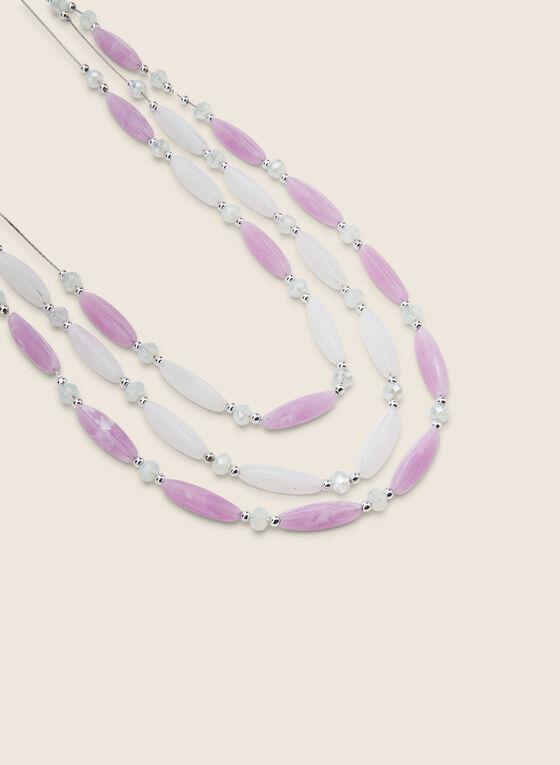 Beaded 3-Row Necklace & Earring Set, Purple