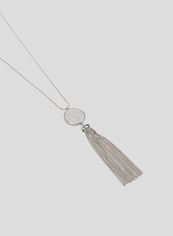 Metallic Fringe Pendant Necklace, Silver, hi-res