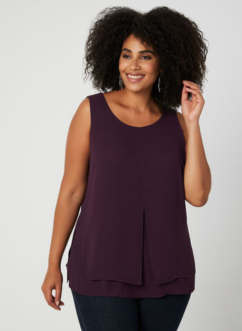 Sleeveless Crepe Blouse, Purple,  sleeveless, blouse, crepe, fall 2019, winter 2019