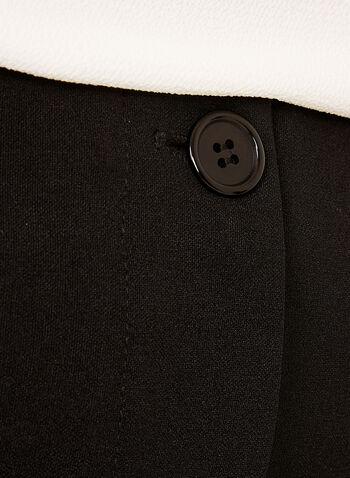 Pantalon crêpe à jambe large et pinces, Noir, hi-res
