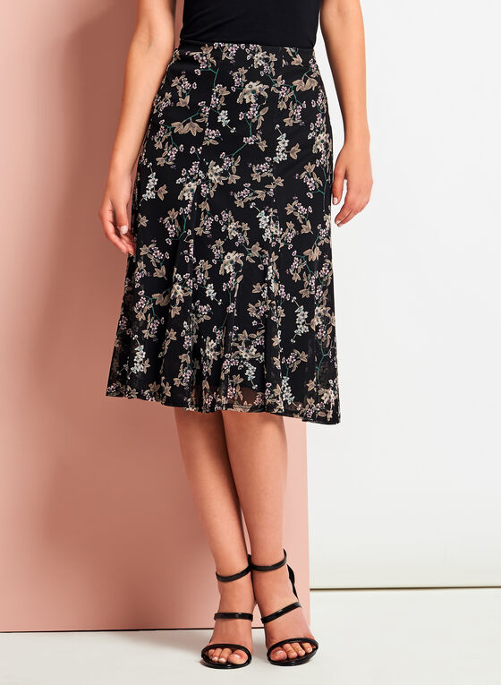 Floral Print Flared Midi Skirt, Black, hi-res