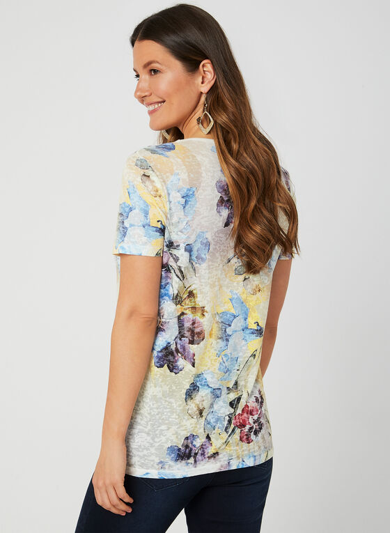 T-shirt à imprimé floral et cristaux, Bleu, hi-res
