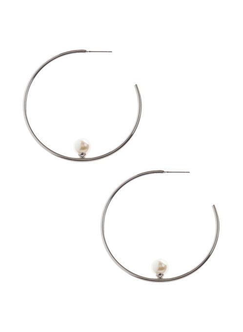 Boucles d'oreille en anneaux et perle, Blanc cassé, hi-res