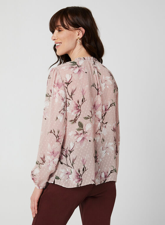Floral Print Chiffon Blouse, Multi