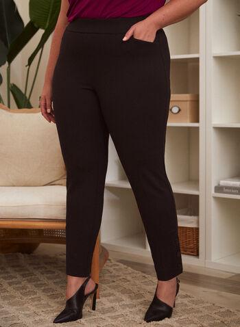 Pantalon à jambe droite avec boutons, Noir,  automne hiver 2021, pantalon, pull-on, modèle à enfiler, jambe droite, taille haute, détails, boutons aux chevilles, poches obliques, poches fendues, confortable