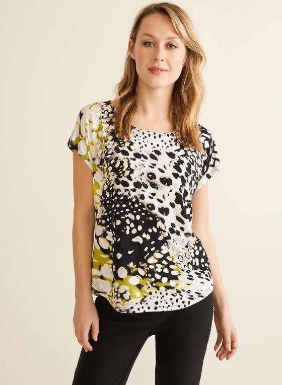 Dot Print Cap Sleeve Top , Black