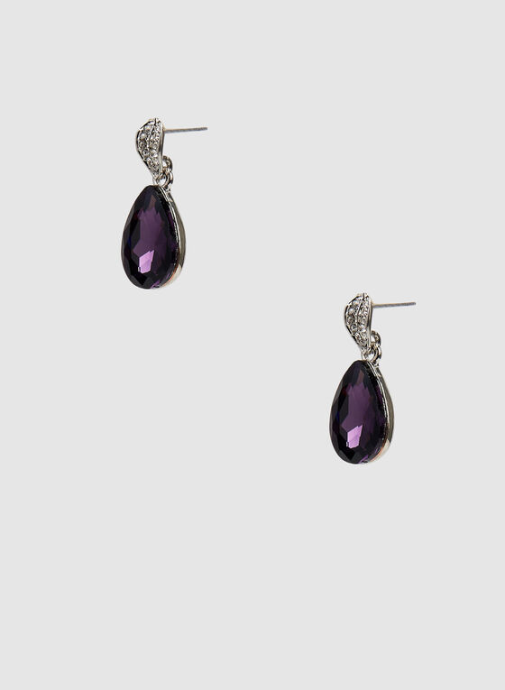 Facetted Teardrop Earrings, Purple