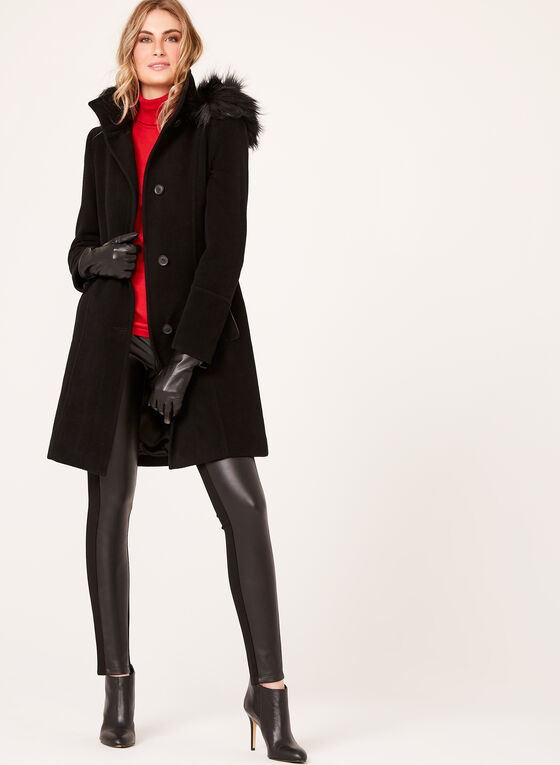 Hooded Wool Like Coat, Black, hi-res