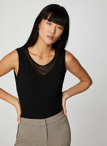 Sleeveless Mesh Insert Top, Black,  canada, mesh, top. sleeveless, sleeveless top, v-neck, scoop neck, crepe, fall 2019, winter 2019
