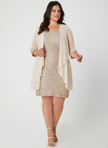 Glitter Lace Dress & Duster, Off White, hi-res,  sleeveless. ¾ sleeve duster, lined, scoop neck, pearls, beads, fall 2019, winter 2019