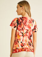 Floral Print Smocked Hem Top, Orange