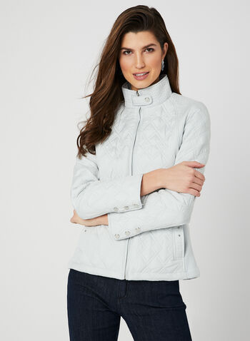 Weatherproof - Quilted Coat, Silver, hi-res