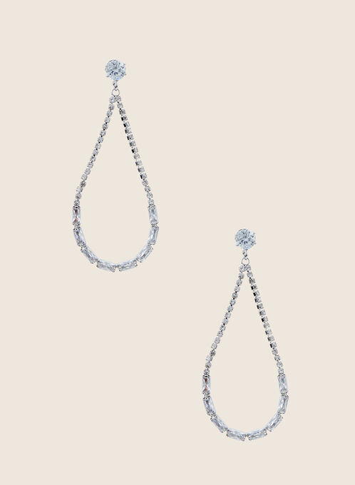 Teardrop Loop Crystal Earrings, Silver