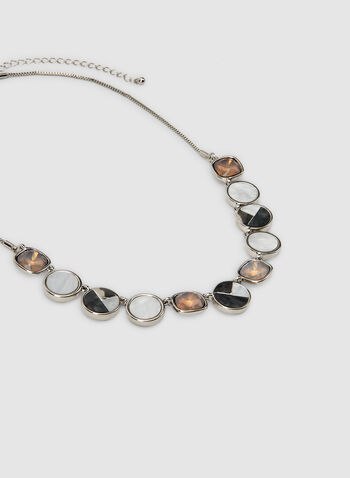 Geometric Facetted Pendant Necklace, Grey,