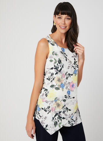 Floral Print Sleeveless Top, White, hi-res,  tiered, crepe, spring 2019