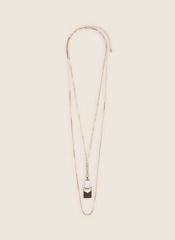 Double Chain Long Necklace , White,  necklace, long necklace, pendant, metallic, resin, spring 2020, summer 2020