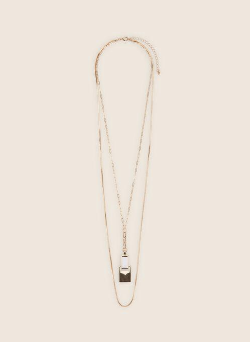 Collier long à double chaîne, Blanc