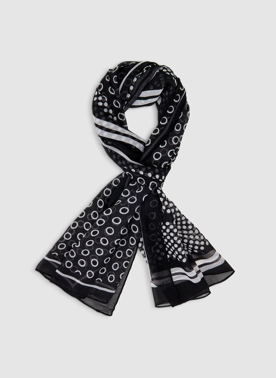 Dot Print Scarf, Black, hi-res