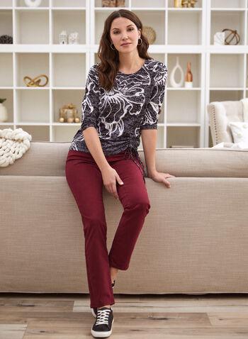 Floral Tie Hem T-Shirt, Black,  Fall winter 2020, t-shirt, tie-hem, 3/4 sleeves, round neck, floral, print, fabric, comfortable