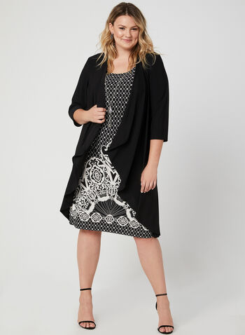 Jersey Dress & Top Set, Black, hi-res,  fall 2019, winter 2019, jersey, dress, printed, duster,  3/4 sleeve