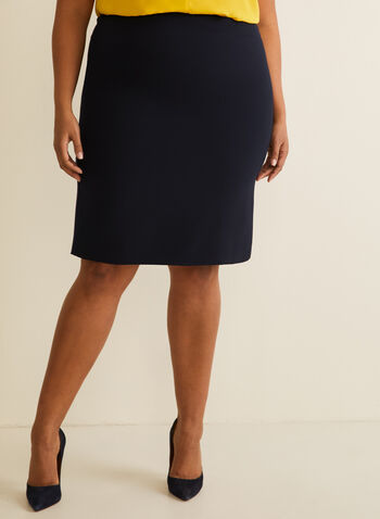 Short Straight Skirt , Blue,  skirt, straight, short, pleat, fall winter 2020