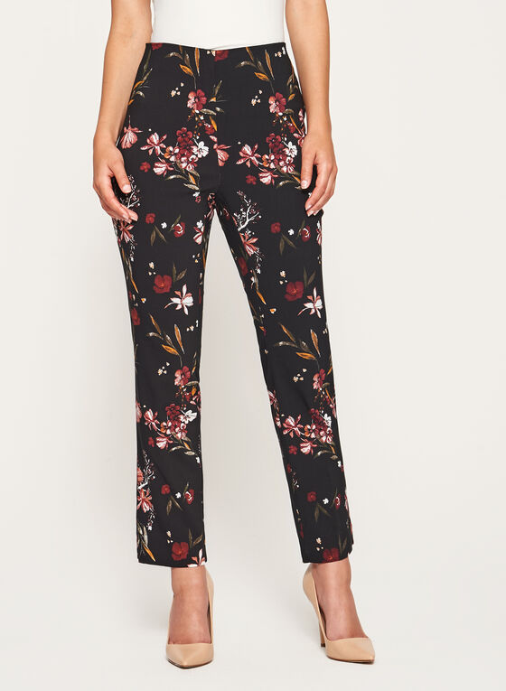 Jules & Leopold - Floral Print Pull-On Pants, Red, hi-res