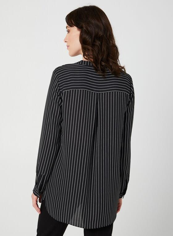 Stripe Print Blouse, Black