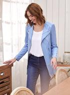 Vex - Veste style redingote en faux cuir, Bleu