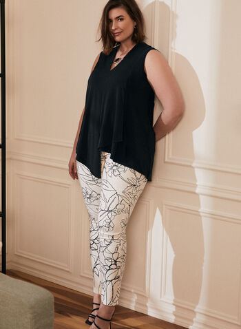 Joseph Ribkoff - Floral Print Slim Leg Jeans, White,  jeans, denim, floral, pockets, stretchy, cotton, slim leg, ribkoff, lyman, spring summer 2021