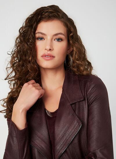 Vex - Veste aspect cuir à zips décoratifs