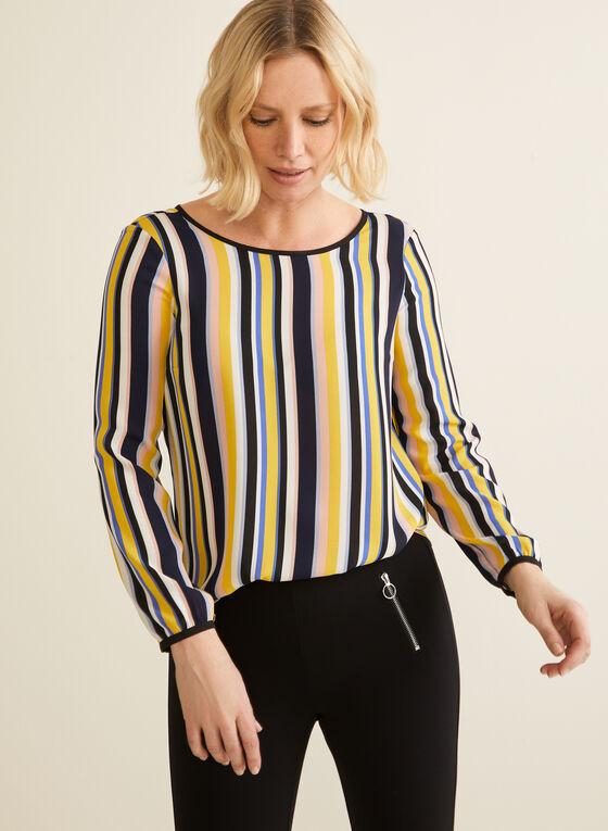 Striped Balloon Sleeve Blouse, Multi