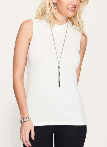 Mock Neck Jersey Knit Top, Off White, hi-res