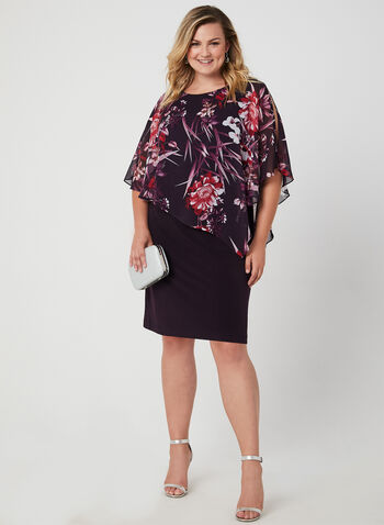 Floral Print Poncho Dress, Purple,  jersey, chiffon, asymmetric, cold shoulder, cutouts, short sleeves, fall 2019, winter 2019