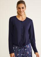 Knot Detail Pyjama Shirt, Blue