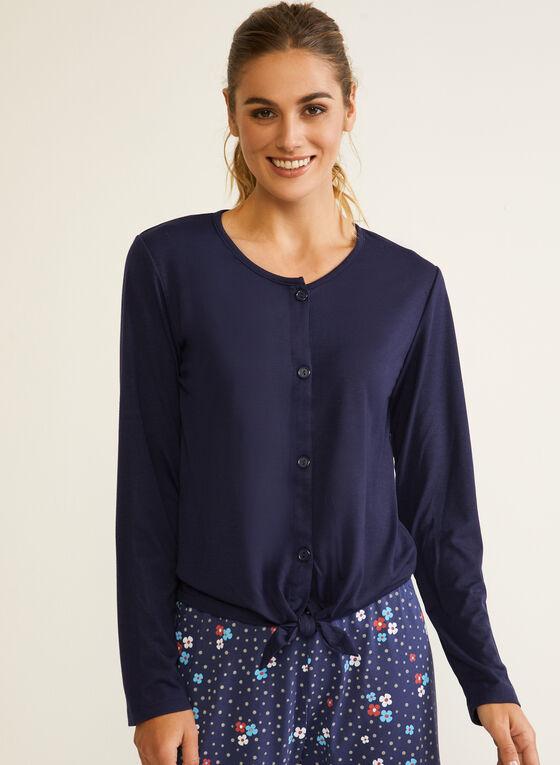 Haut de pyjama boutonné à nouer, Bleu