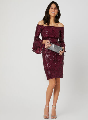 Angel Sleeve Sequin Dress, Red, hi-res