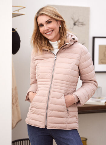 Recycled Quilted Vegan Down Coat, Pink,  fall winter 2021, jacket, coat, outerwear, faux down, vegan down, fake down, quilted, stand collar, detachable hood, zip front, long sleeves, fleece, pockets, graduating waist, repreve, recycled, environment