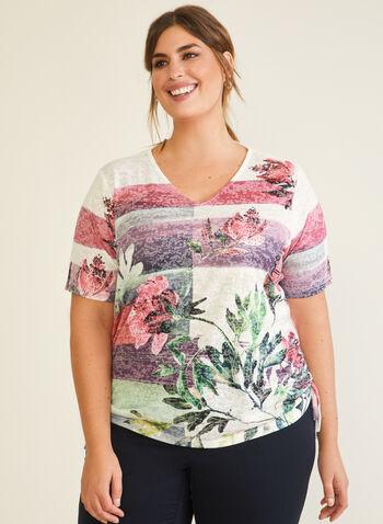 Floral & Stripe Print Tee, Purple,  t-shirt, stripe, floral, v-neck, rhinestones, fall winter 2020