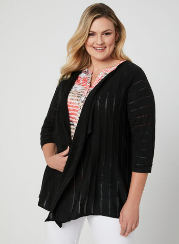 Open Front Pointelle Cardigan, Black, hi-res