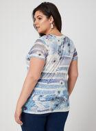 Mixed Print Burnout T-Shirt, Blue, hi-res