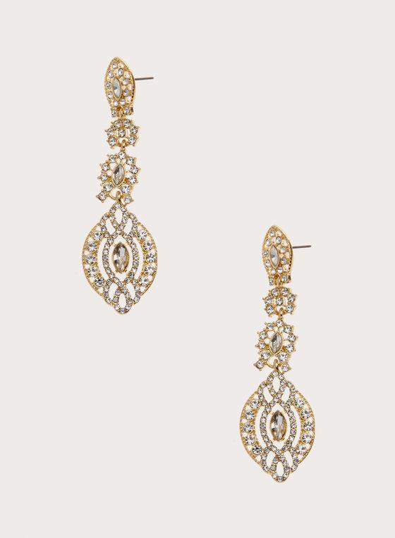 Crystal Chandelier Earrings, Gold, hi-res