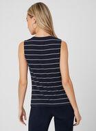Stripe Print Sleeveless Top, Blue, hi-res