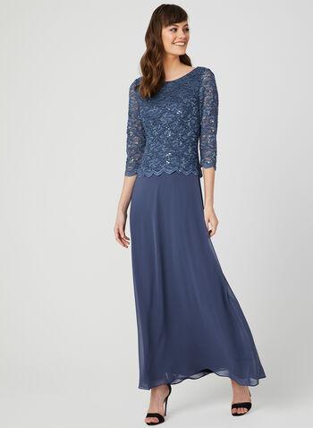 Robe en dentelle pailletée et mousseline, Bleu, hi-res,  maxi, robe de soirée, manches ¾, printemps 2019