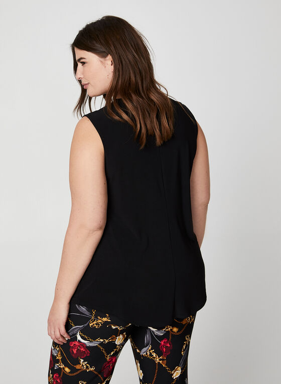 Twisted Collar Sleeveless Top, Black