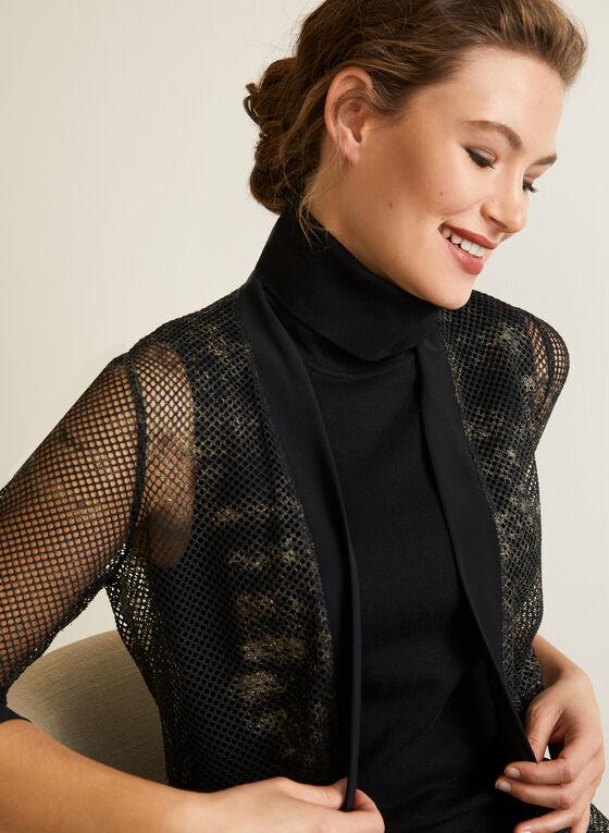 Open Front Crochet Top, Black